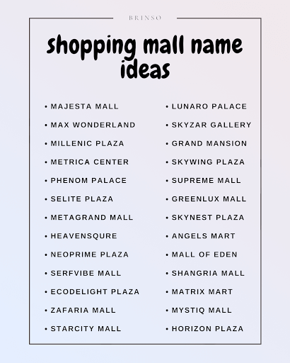 shopping mall name ideas image